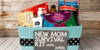 Overall gift basket for new mom